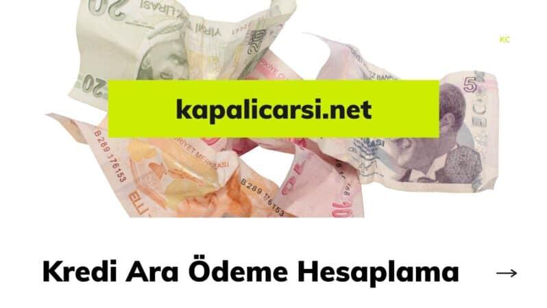 Kredi Ara Ödeme Hesaplama